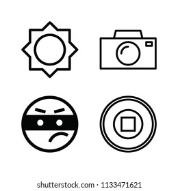 Outline set of 4 interface icons such as thief, brightness, technology