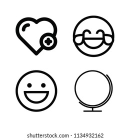 Outline set of 4 interface icons such as hilarious, happy, blank globe