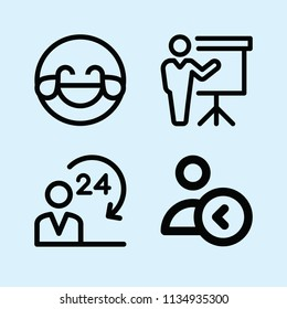 Outline set of 4 people icons such as hilarious, 24 hours, presentation