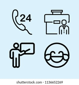 Outline set of 4 people icons such as job, hilarious, 24 hours
