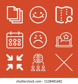 Outline set of 9 interface icons such as minimize, angry, smile, blank page, cross, calendar, brainstorm, laptop