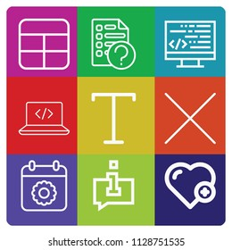 Outline set of 9 interface icons such as text align, cells, code, coding, cross, heart, information, calendar