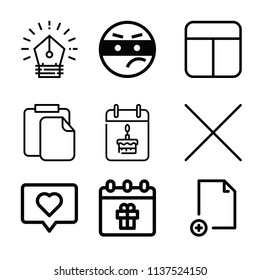 Outline set of 9 interface icons such as cells, thief, paste document, file with plus symbol, cross, love, calendar