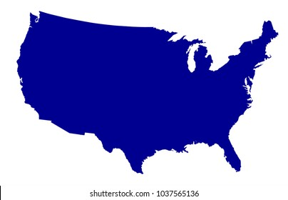 An outline silhouette map of The United States of America over a white background