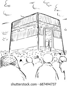 Outline sketch of devout Muslim pilgrims assembled around the Kaaba in Mecca, Arabia