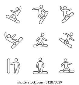 Outline snowboard icons set. Linear figure snowboarders
