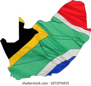 Outline of South Africa filled in with the national flag