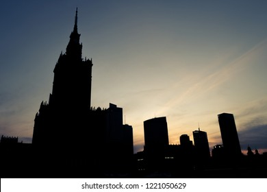 Outline of Warsaw skyline at dusk