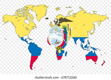 Vector simple colored world map office stock vector 2018 408919723 an outline of the world with the flag of ecuador gumiabroncs Gallery