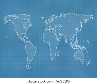 Outline of the world on a blueprint style background