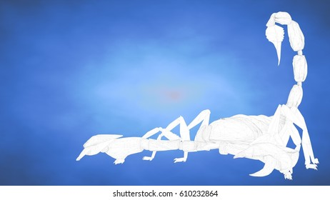 outlined 3d rendering of a scorpion inside a blue studio