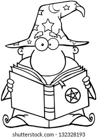 Outlined Funny Wizard Holding A Magic Book. Raster Illustration.Vector Version Also Available In Portfolio.
