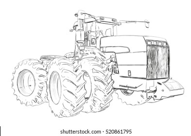 Outlines of the agricultural tractor
