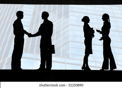 Outlines of business partners handshaking with two communicating females near by