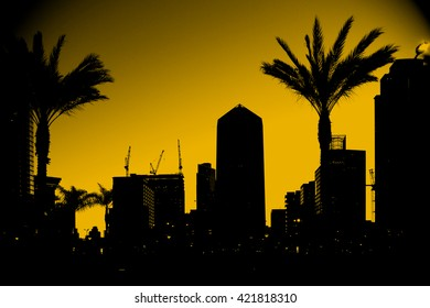 The outlines and silhouettes of skyscrapers in downtown San Diego / Outline skyscrapers San Diego