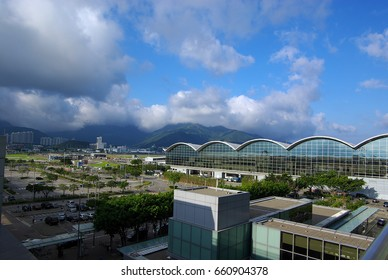 The outlook of the Hong Kong International Airport on a sunny day