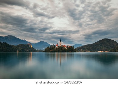 Outlook on the Lake Bled and the church on the Bled island and the Bled castle by twilight