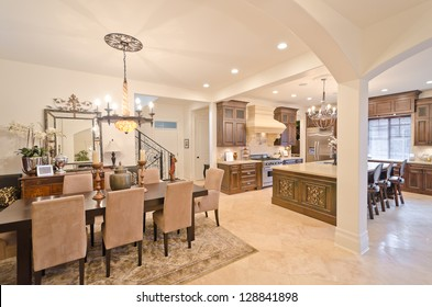 Outlook, panorama at the luxury living suite: lliving room and the kitchen at the back. Interior design.