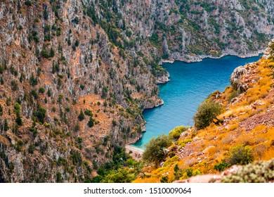 Outlook view of Kabak Valley in Fethiye, Turkey. A hidden gem along the Turkish Riviera, Mediterranean Sea.