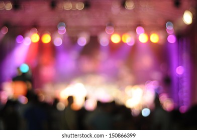 Out-of-focus shimmering background of a concert hall stage set