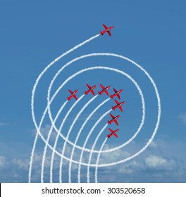 Outperform the market business concept as a jet airplane running circles around the competition with engine smoke as a success symbol of rising above and dominating others.