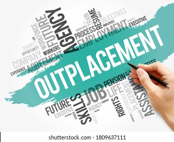 Outplacement word cloud collage, business concept background
