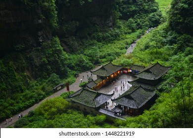 The Outpost Building Surrounding in the Three Natural Bridges (Tianlong Bridge, Qinglong Bridge, Heilong Bridge) in Wulong Karst National Geology Park (A UNESCO World Heritage Site in Chongqing China)