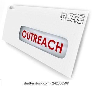 Outreach word on an envelope mailed to an audience to persuade with a message of advertising or communication