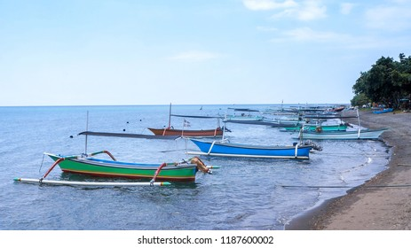 Outrigger boat ot the beach in Lovina Bali Indonesia