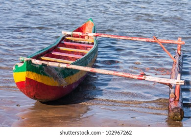 Outrigger canoe on the beach of Foulpointe, eastern Madagascar