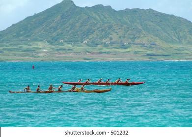 Outrigger canoe race at Kailua Beach.