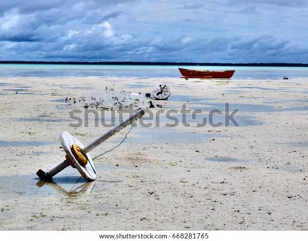 Outrigger canoe, South Tarawa, Kiribati
