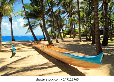 Outrigger canoe waits patiently for action on a sandy beach with palm trees and the ocean beyond