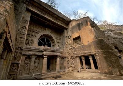 Outside of  Ajanta Caves near Aurangabad, India. 1st Century BC to 6th Century AD.