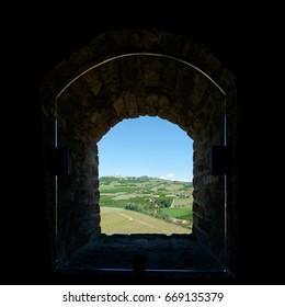 Outside a castle window