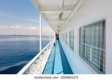 Outside corridor in the ferry boat to Corfu