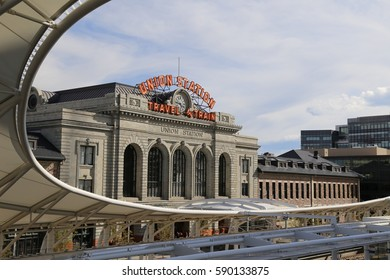 Outside of Denver's Union Station on a sunny day of September 5 2015