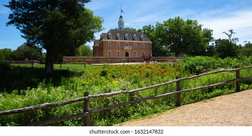 Outside of the fence encompassing the capitol building in Colonial Williamsburg.