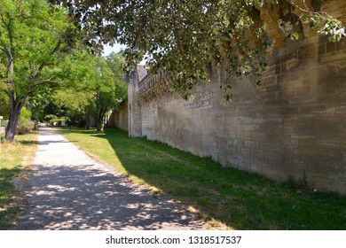 Outside medieval ramparts at Avignon, a commune in south-eastern France in the department of Vaucluse on the left bank of the Rhône river, famous by his bridge