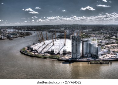 The outside of the O2 Arena in London from across the River Thames