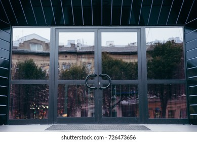 Outside office black modern solid glass door