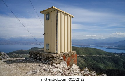 Outside portable toilet with a view, stationed at the top of Pantokrator mountain Corfu Greece