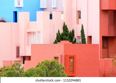 Outside of the Red Wall building by Ricardo Bofill in Calp, Spain