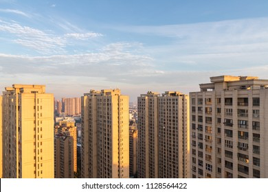 outside the residential high-rises in sunrise, urban real estate closeup