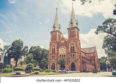 Outside Saigon Notre Dame Basilica,Vietname  (Vintage filter effect used)