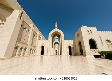 Outside scene of the Sultan Qaboos Grand Mosque in Muscat, Oman.