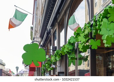Outside street view of irish pub decorated with shamrocks for St Patricks Day