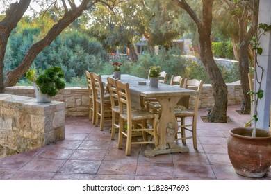 Outside traditional tavern restaurant near the sea, Greece