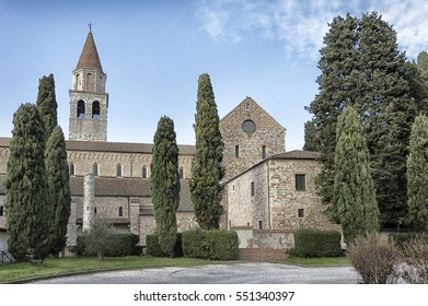 Outside view of an ancient church, catholic religion, Italy