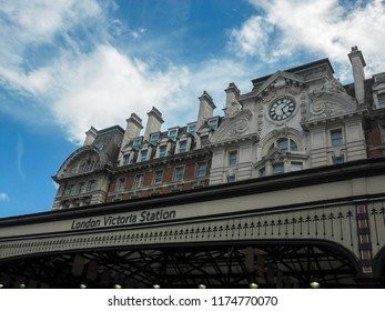 Outside view of London Victoria Station located in Belgravia.